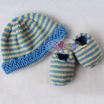 15.05.B-Baby Set - Stripped Crown hat & booties