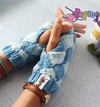 14.04.G-fingerless entrelac in blue