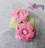 Pink crochet flower hairclip (set of 2)
