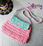 Pink blue T-yarn sling bag