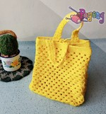 Yellow crochet lunch bag