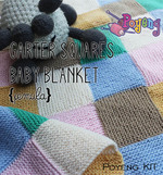 KIT Super Pemula: Garter Squares Baby Blanket Knitting Kit