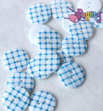 Kancing resin 23mm :<br>Blue grid (satuan)